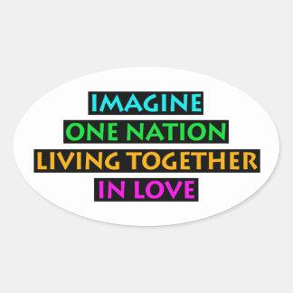 Pegatina Ovalada Imagínese una nación el vivir junto en amor