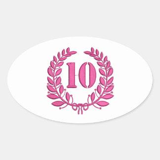 Pegatina Ovalada imitación de 10 enhorabuena del bordado