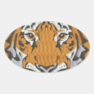Pegatina Ovalada imitación del tigre del bordado