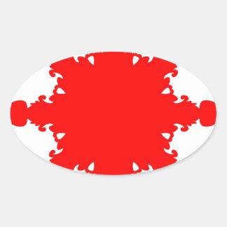 Pegatina Ovalada Impresión circular roja