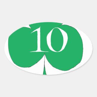 Pegatina Ovalada Irlandés afortunado 10 de los clubs, fernandes