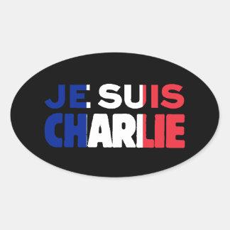 Pegatina Ovalada Je Suis Charlie - soy Charlie tricolor de Francia