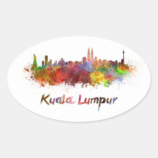 Pegatina Ovalada Kuala Lumpur skyline in watercolor splatters