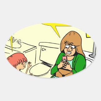 Pegatina Ovalada La abuela 903 está comprobando el dibujo animado