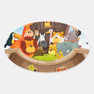 Pegatina Ovalada La arca de Noah con los animales de la selva