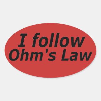 Pegatina Ovalada La ley de ohmio