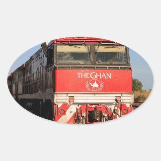 Pegatina Ovalada La locomotora del tren de Ghan, Darwin