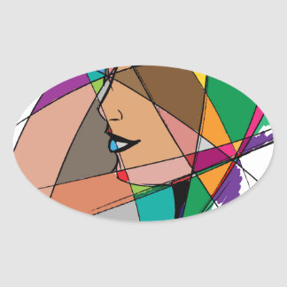 Pegatina Ovalada La mujer abstracta de Stanley Mathis