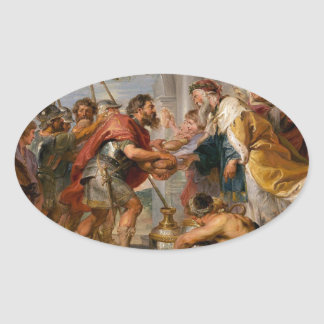 Pegatina Ovalada La reunión de Abraham y del arte de Melchizedek