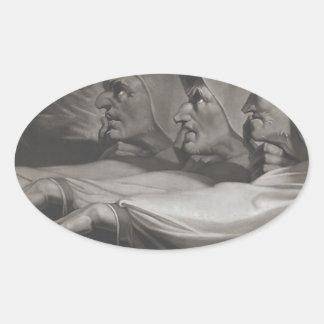 Pegatina Ovalada Las hermanas extrañas (Shakespeare, Macbeth)