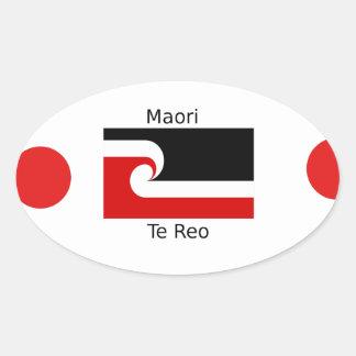 Pegatina Ovalada Lengua de Te Reo y diseño maorí de la bandera