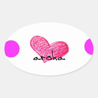 Pegatina Ovalada Lengua maorí del diseño del amor
