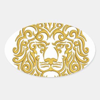 Pegatina Ovalada león de oro en la corona - imitación del bordado