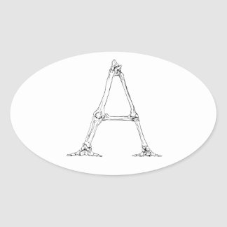 Pegatina Ovalada Letra del hueso - A