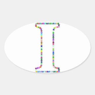 Pegatina Ovalada Letra I de la estrella del arco iris