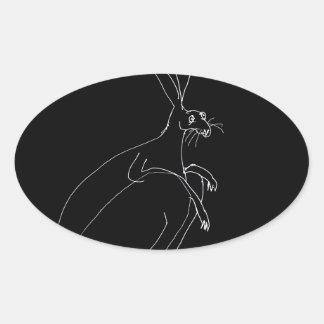 Pegatina Ovalada liebres mágicas