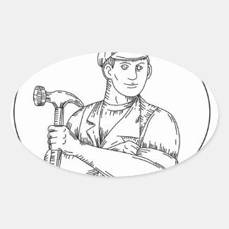 Pegatina Ovalada Línea del martillo del carpintero del vintage mono