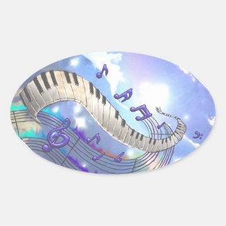 Pegatina Ovalada Llaves musicales del piano del cielo