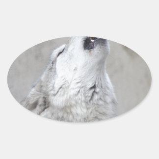 Pegatina Ovalada Lobo gris del grito
