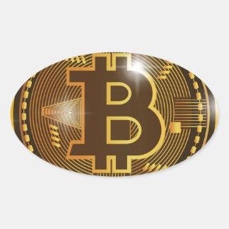 Pegatina Ovalada Logotipo de Bitcoin y diseño frescos del gráfico