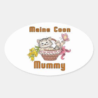 Pegatina Ovalada Mamá del gato de Coon de Maine