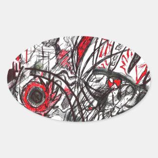 Pegatina Ovalada Manos del dibujo de la pluma de la rabia