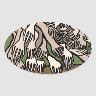 Pegatina Ovalada Manos del maniquí