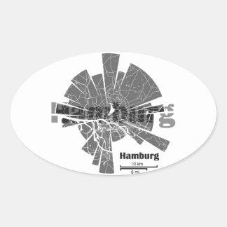 Pegatina Ovalada Mapa de Hamburgo