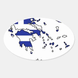 PEGATINA OVALADA MAPA DE LA BANDERA DE GRECIA
