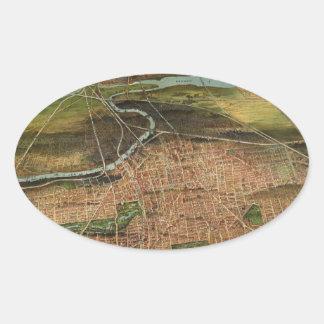 Pegatina Ovalada Mapa de Newark 1916