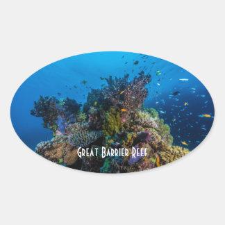 Pegatina Ovalada Mar de coral tropical de la gran barrera de coral