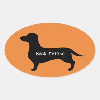 Pegatina Ovalada Mejor amigo precioso de la silueta del dachshund