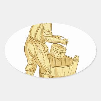Pegatina Ovalada Miller medieval con el dibujo del cubo