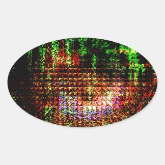 Pegatina Ovalada modelo del caleidoscopio del radar