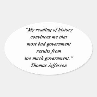 Pegatina Ovalada Mún gobierno - Thomas Jefferson