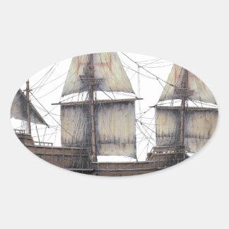 Pegatina Ovalada Nave de oro de 1578 Hinde