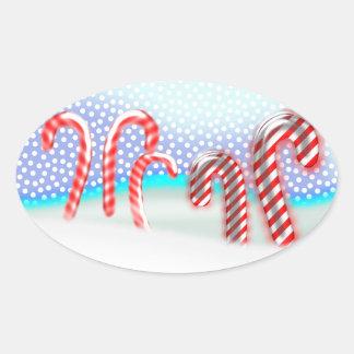 Pegatina Ovalada Navidad del bosque del bastón de caramelo