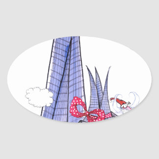 Pegatina Ovalada Navidad Santa de ShardArt de Tony Fernandes