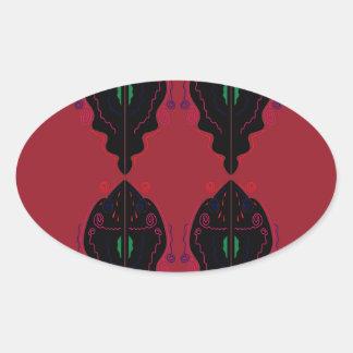 Pegatina Ovalada Negro rojo de los ornamentos de lujo
