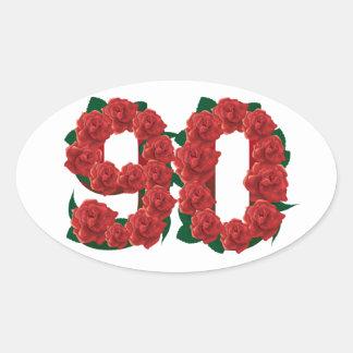 Pegatina Ovalada Número rosas rojos de 90 o 90.os cumpleaños