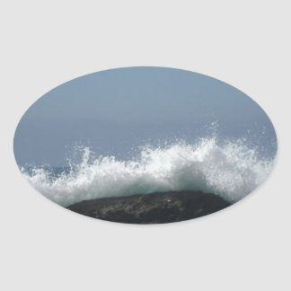 Pegatina Ovalada Olas oceánicas