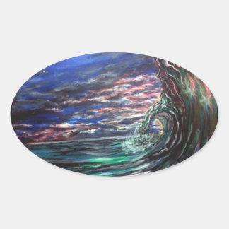 Pegatina Ovalada onda de la playa