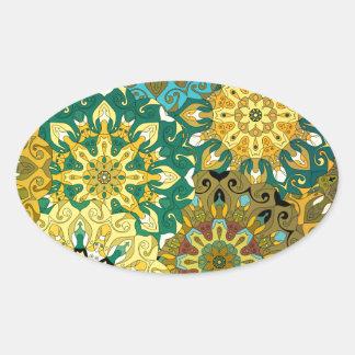 Pegatina Ovalada Oriente la mandala azul y amarillee el adorno