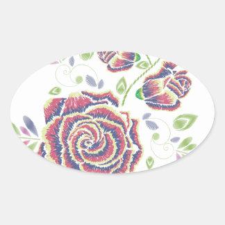 Pegatina Ovalada Ornamento color de rosa púrpura del bordado