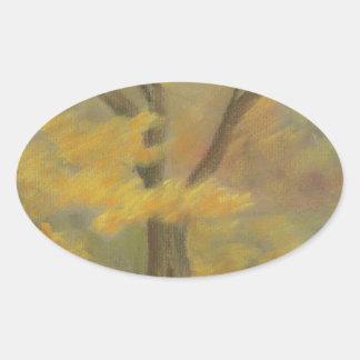 Pegatina Ovalada Oro del otoño
