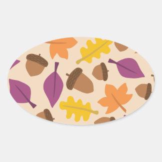 Pegatina Ovalada otoño con las hojas de la bellota y del roble