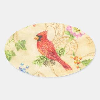 Pegatina Ovalada Óvalo cardinal del estilo del vintage de los