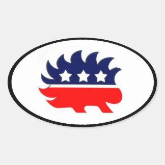 Pegatina Ovalada Óvalo libertario de la mascota del puerco espín