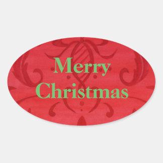Pegatina Ovalada Óvalo rojo del damasco de las Felices Navidad de