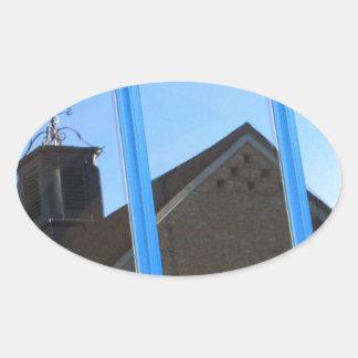 Pegatina Ovalada Paleta de viento en la ventana